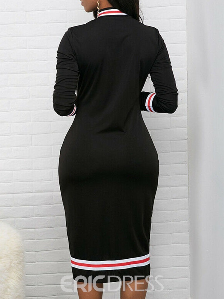 Ericdress Long Sleeve Print Mid-Calf Regular Mid Waist Dress