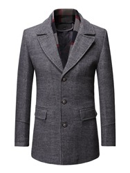 Ericdress Mid-Length Lapel Plain Mens Slim Coat