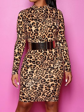 Ericdress Stand Collar Print Long Sleeve Mid Waist Leopard Dress