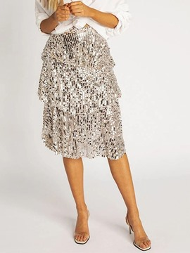 Ericdress Mid-Calf Sequins Cupcake Skirt