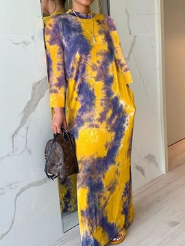 Ericdress Floor-Length Nine Points Sleeve Print Straight Pullover Dress