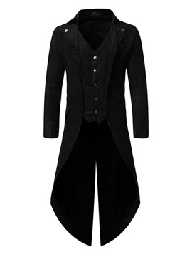 Ericdress Button Long Plain Single Men's Trench Coat