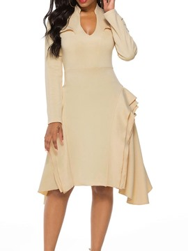 Ericdress Mid-Calf Long Sleeve Falbala Asymmetrical Pullover Dress
