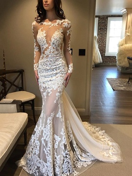 Ericdress Watteau Train Long Sleeves Lace Mermaid Wedding Dress