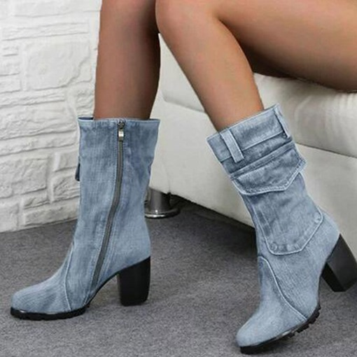 Ericdress Denim Side Zipper Chunky Heel Round Toe Women's Boots