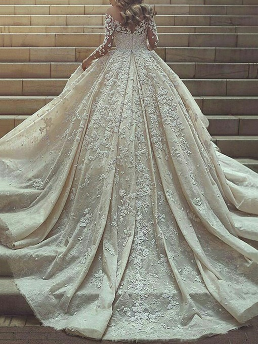 Ericdress Long Sleeves Appliques Ball Gown Wedding Dress 2019