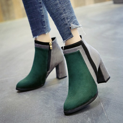Ericdress Round Toe Color Block Chunky Heel Women's Boots