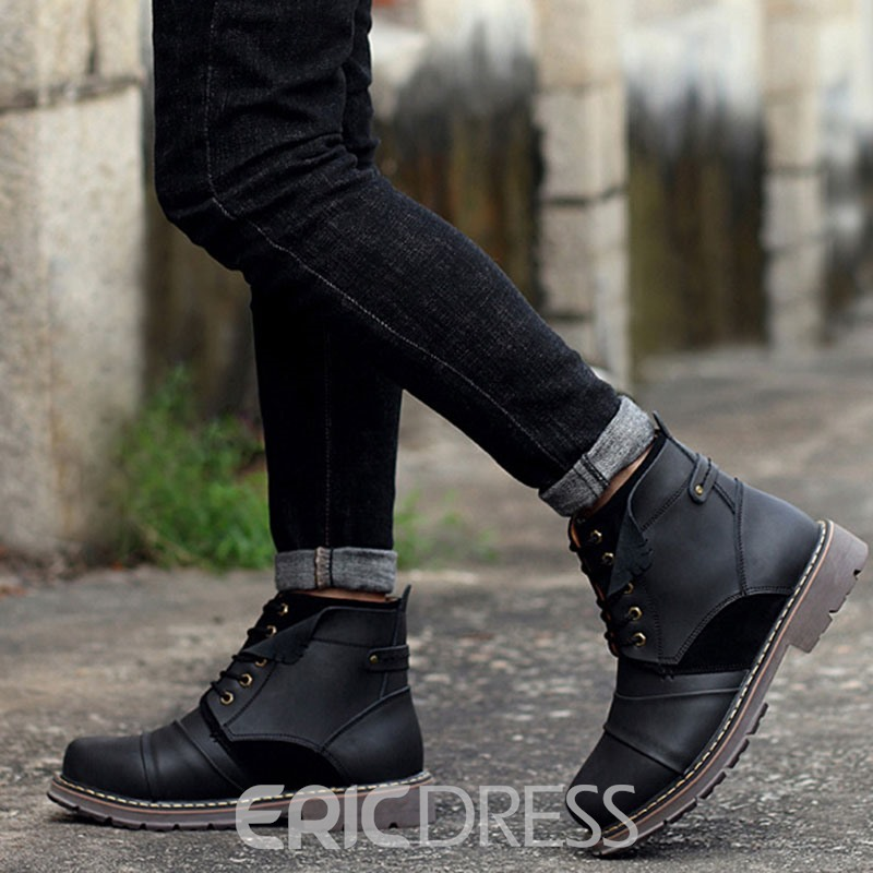 Ericdress Round Toe Patchwork Lace-Up Front Men's Boots
