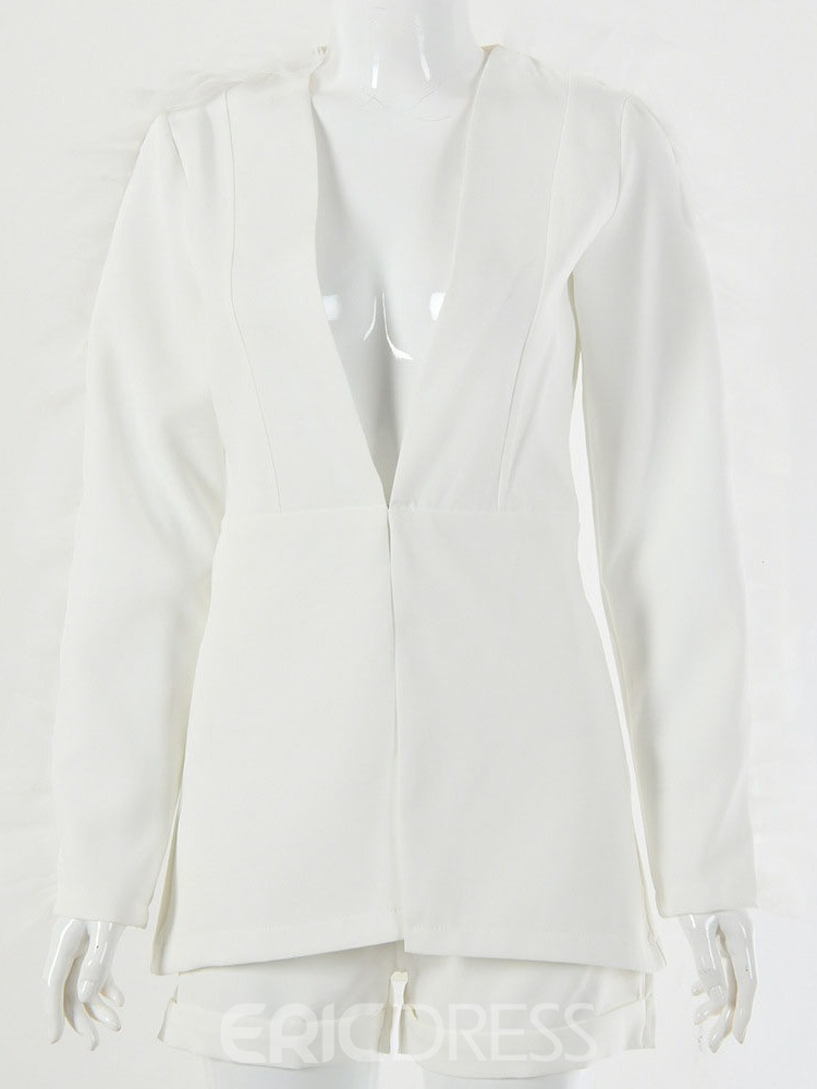 Ericdress Plain Long Sleeve Mid-Length Loose Casual Blazer