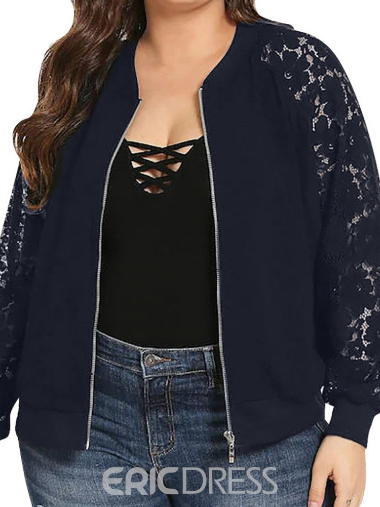 Ericdress Plus Size Long Sleeve Loose Stand Collar Long Jacket