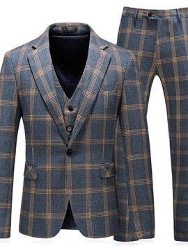 Ericdress Plaid One Button Fashion Men's Dress Suit
