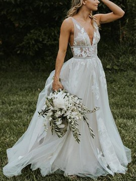 Ericdress V-Neck A-Line Appliques Beach Wedding Dress