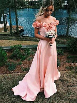 Ericdress Off-The-Shoulder 3D Flowers Prom Dress 2019