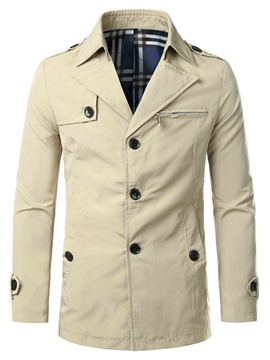 Ericdress Plain Lapel Button Casual Men's Jacket
