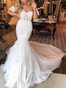 Ericdress Mermaid Appliques Short Sleeves Wedding Dress 2019