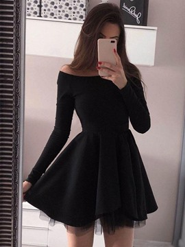 Ericdress Long Sleeves Short Black Cocktail Dress