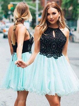 Ericdress Halter Beading Lace Homecoming Dress 2019