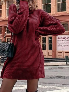 Ericdress Long Sleeve Turtleneck Above Knee High Waist Plain Dress