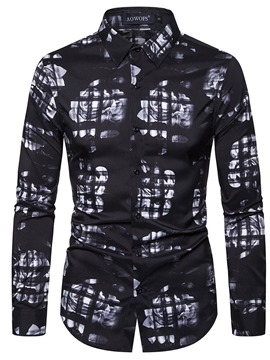 ericdress print color block casual einreiher herren slim shirt