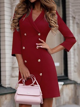 Ericdress Notched Lapel Above Knee Three-Quarter Sleeve Plain Double-Breasted Dress
