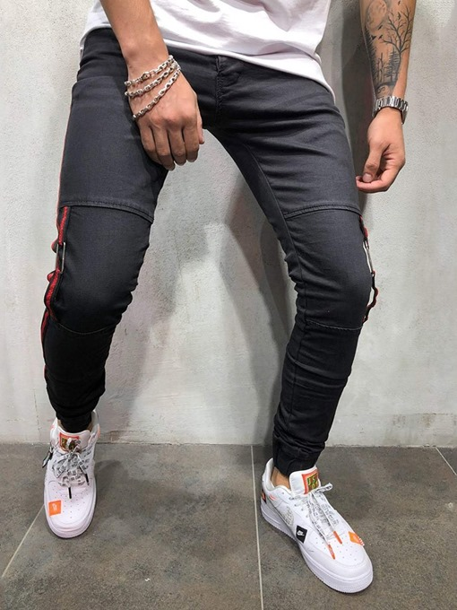 Ericdress Patchwork Color Block Pencil Pants Zipper Men's Jeans