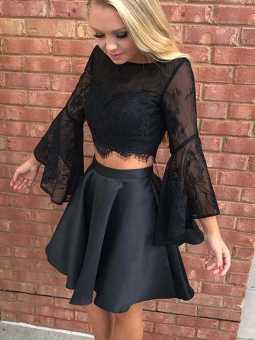 Ericdress A-Line Lace Long Sleeves Homecoming Dress