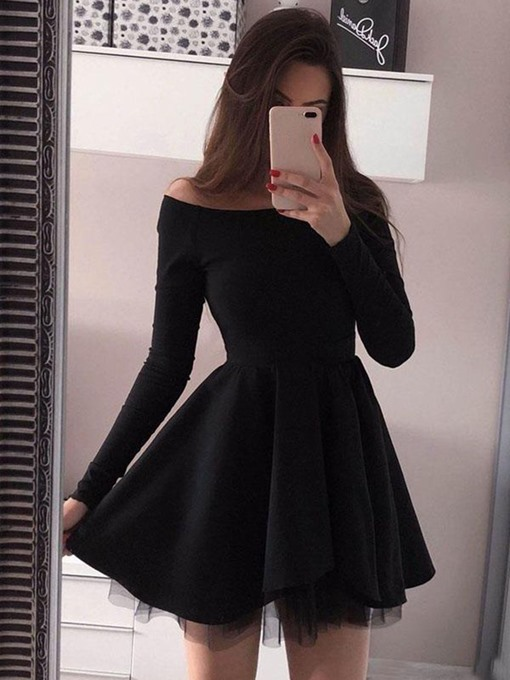 Ericdress Long Sleeves Short Black Cocktail Dress 2019