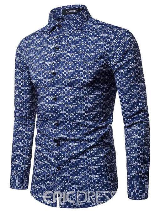 Ericdress Casual Lapel Button Slim Single-Breasted Men's Shirt