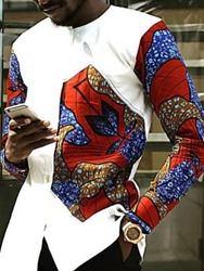 Ericdress African Fashion Dashiki Color Block Casual Round Neck Mens Shirt фото