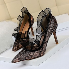 Ericdress Stiletto Heel Lace Slip-On High Heel Pumps