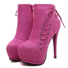 Ericdress Stiletto Heel Plain Round Toe Women's Ankle Boots