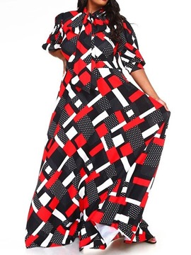 Ericdress Three-Quarter Sleeve Floor-Length Print Fall Pullover Dress