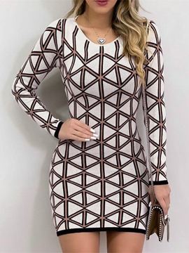 Ericdress Print Long Sleeve V-Neck Mid Waist Regular Dress