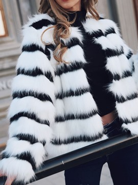 Ericdress Color Block Mid-Length Winter Loose Faux Fur Women's Overcoat