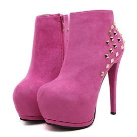 Ericdress Rivet Round Toe Side Zipper Women's Ankle Boots