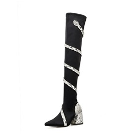 Ericdress Color Block Chunky Heel Pointed Toe Women's Over-The-Knee Boots