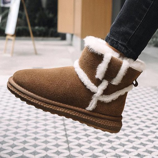 Ericdress Round Toe Slip-On Patchwork Women's Snow Boots