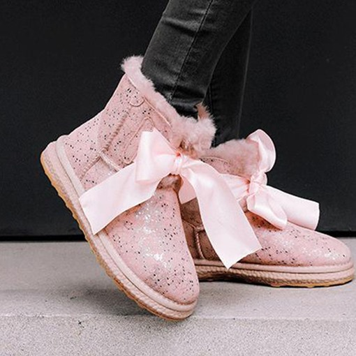 Ericdress Bow Round Toe Lace-Up Front Women's Snow Boots