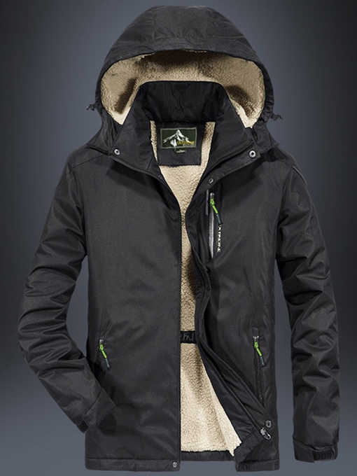 Ericdress Patchwork Hooded Mid-Length Zipper Casual Men's Down Jacket
