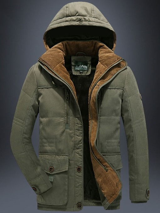 Ericdress Mid-Length Hooded Patchwork Zipper Casual Men's Down Jacket
