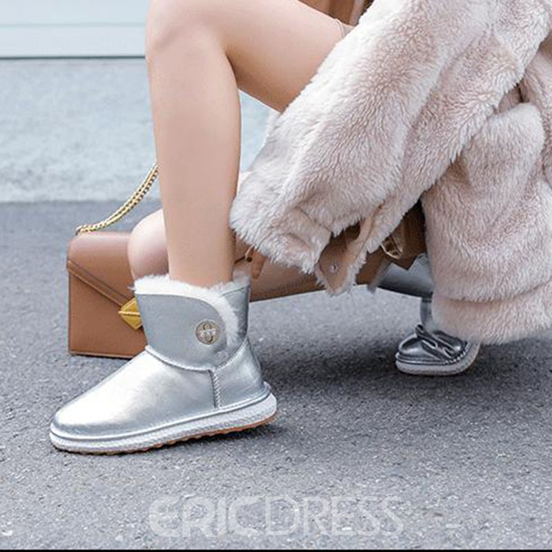 Ericdress Round Toe Hasp Patchwork Women's Snow Boots