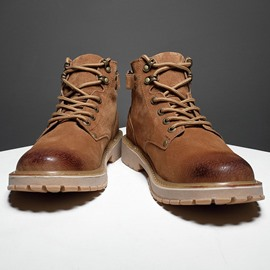 Ericdress Lace-Up Front Round Toe Plain Men's Boots
