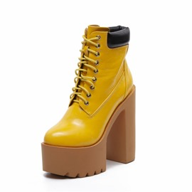 Ericdress Patchwork Lace-Up Front Round Toe Women's Ankle Boots