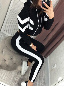 Ericdress Casual Color Block Pullover Two Piece Sets