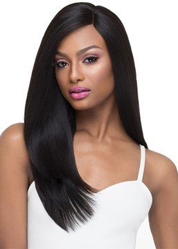 Middle Part Hairstyles Women's Natural Looking 100% Human Hair Wigs Straight Lace Front Cap Wigs 24Inch