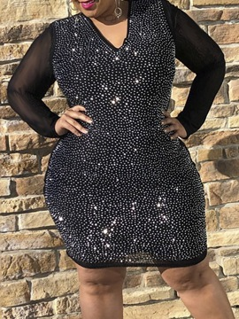 Ericdress Plus Size V-Neck Long Sleeve Diamond Party/Cocktail Spring Dress