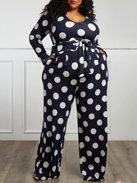 Ericdress Plus Size Print Full Length Polka Dots Loose Mid Waist Jumpsuit