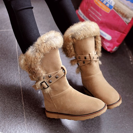Ericdress Round Toe Hasp Patchwork Buckle Women's Snow Boots