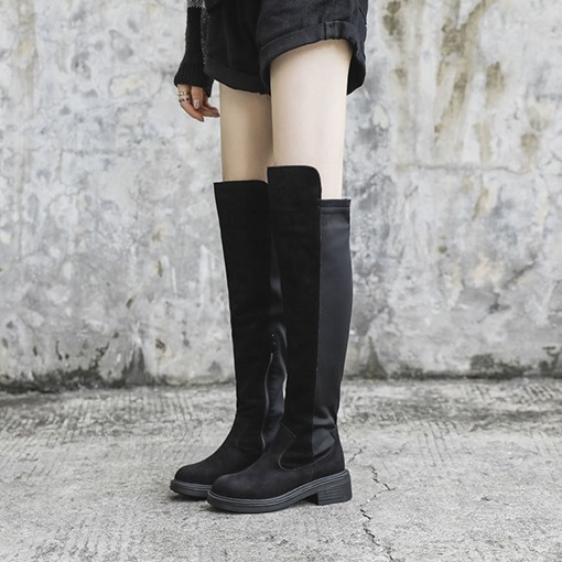 Ericdress Round Toe Chunky Heel Side Zipper Women's Knee High Boots