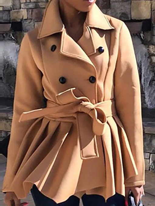 Ericdress Double-Breasted Slim Mid-Length Fall Overcoat